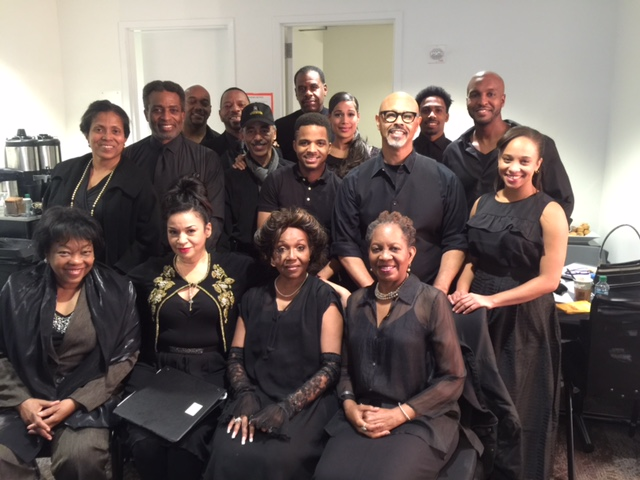 Back row: Bernadette Drayton, Lawrence Cherry,Jimmy Gary Jr., Dathan B. Williams, Byron C. Saunders, Akil Williams, Guy Whitlock, Marlene Villafane, Charles B Murray, Anthony Goss, Elijah Bland and Jalene Goodwin. Seated: Playwright: Celeste Bedford Walker Yvette Ganier, Director: Lynnie Godfrey and Brenda Denmark